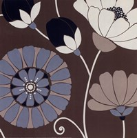 "Chocolate Retro Floral by Design show - 20"" x 20"""