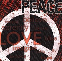 Peace - Red Black and White Fine Art Print