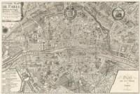 """Plan de la Ville de Paris, 1715 by Nicolas De Fer, 1715 - 36"""" x 24"""""""