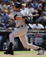 Derek Jeter Most Career Hits by a Shortstop 2009 with Overlay Framed Print