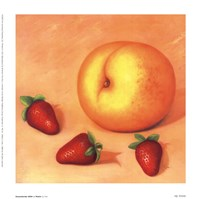 Strawberries With A Peach Fine Art Print