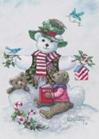 "Snowman Teddy Bear l by Janet Kruskamp - 6"" x 8"""