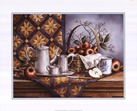 """Pewter Tea Set with Apples by T.C. Chiu - 20"""" x 16"""""""