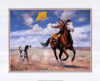 Flying a Kite with Friends Fine Art Print