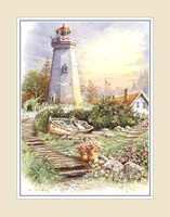 """Lighthouse with Boat - 16"""" x 20"""""""