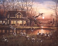 Geese by the Lake Fine Art Print