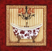 Red Demask Bath I Framed Print