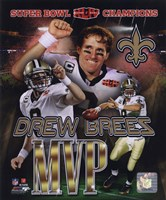 "Drew Brees Super Bowl XLIV MVP Portrait Plus (#21) - 8"" x 10"", FulcrumGallery.com brand"
