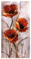 Red Poppies on Taupe I Fine Art Print