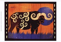 Woodblock Buffalo Fine Art Print