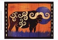 "Woodblock Buffalo by Benjamin Bay - 19"" x 13"""