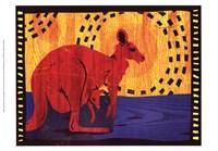 "Woodblock Kangaroo by Benjamin Bay - 19"" x 13"""