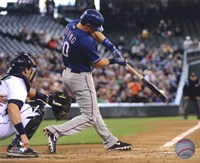 """Michael Young 2010 Action - 10"""" x 8"""", FulcrumGallery.com brand"""