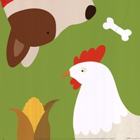 Farm Group: Hen and Dog Fine Art Print