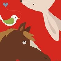 Farm Group: Rabbit and Horse Framed Print