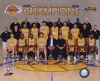 2009-10 Los Angeles Lakers Team Photo with Western Conference Champions Overlay Fine Art Print