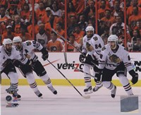 "Patrick Kane, Patrick Sharp, & Nick Boynton Celebrate winning the 2010 Stanley Cup (#24), 2010 - 10"" x 8"""
