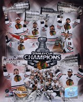 Chicago Blackhawks Stanley Cup Champions PF GOLD Fine Art Print