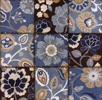 Patchwork Motif Blue Fine Art Print