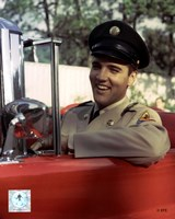 Elvis Presley Sitting in Car Wearing Uniform (#3) Fine Art Print