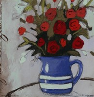 Blue Pitcher Bouquet Fine Art Print