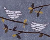 Aqua Songbirds I Framed Print