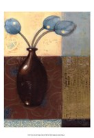 Ebony Vase with Blue Tulips II Fine Art Print