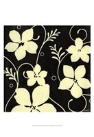 Black with Cream Flowers Fine Art Print
