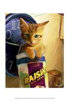"Orange Cat in Raisin Box by Robert McClintock - 13"" x 19"""