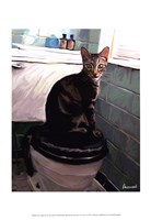 Gray Tiger Cat on the Toilet Fine Art Print