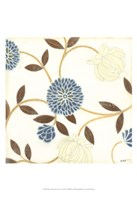 Blue and Cream Flowers on Silk I Fine Art Print