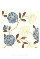 Blue and Cream Flowers on Silk II Fine Art Print