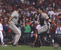 Buster Posey & Brian Wilson Celebrate winning the 2010 NLCS Framed Print