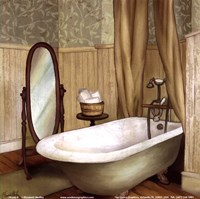 Green Farmhouse Bath II Fine Art Print