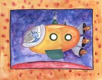"Yellow Spaceship by Serena Bowman - 14"" x 11"""