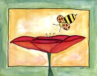 "Poppies a Buzz by Serena Bowman - 14"" x 11"", FulcrumGallery.com brand"