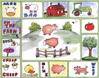 "All Around the Barnyard- Pigs by Serena Bowman - 14"" x 11"" - $13.99"