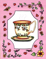 Teacup with Pink Coral Floral Framed Print