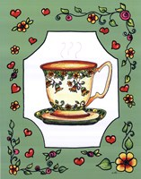 Teacup with Green Floral Framed Print