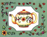 Teapot with Green Floral Fine Art Print