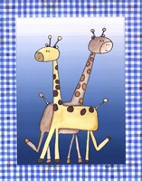 Two by Two Blue - Giraffe Fine Art Print