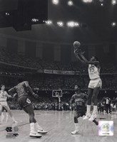 Michael Jordan University of North Carolina Game winning basket in the 1982 NCAA Finals against Georgetown Vertical Action Framed Print