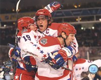 Alex Ovechkin, Nicklas Backstrom, & Mike Knuble Celebrate 2011 NHL Winter Classic Fine Art Print