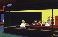 The Simpsons Nighthawks Spoof Fine Art Print