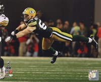 """Clay Matthews Action from Super Bowl XLV - 10"""" x 8"""""""