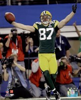 Jordy Nelson Touchdown Celebration from Super Bowl XLV Fine Art Print