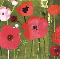 "Ranunculus on Green by Susy Pilgrim Waters - 27"" x 27"""