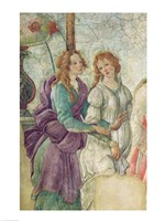 Detail of Venus and the Graces offering gifts to a young girl, 1486 Fine Art Print