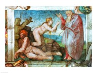 Sistine Chapel ceiling: Creation of eve, with four Ignudi, 1511 Fine Art Print