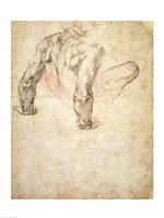 W.63r Study of a male nude, leaning back on his hands Fine Art Print